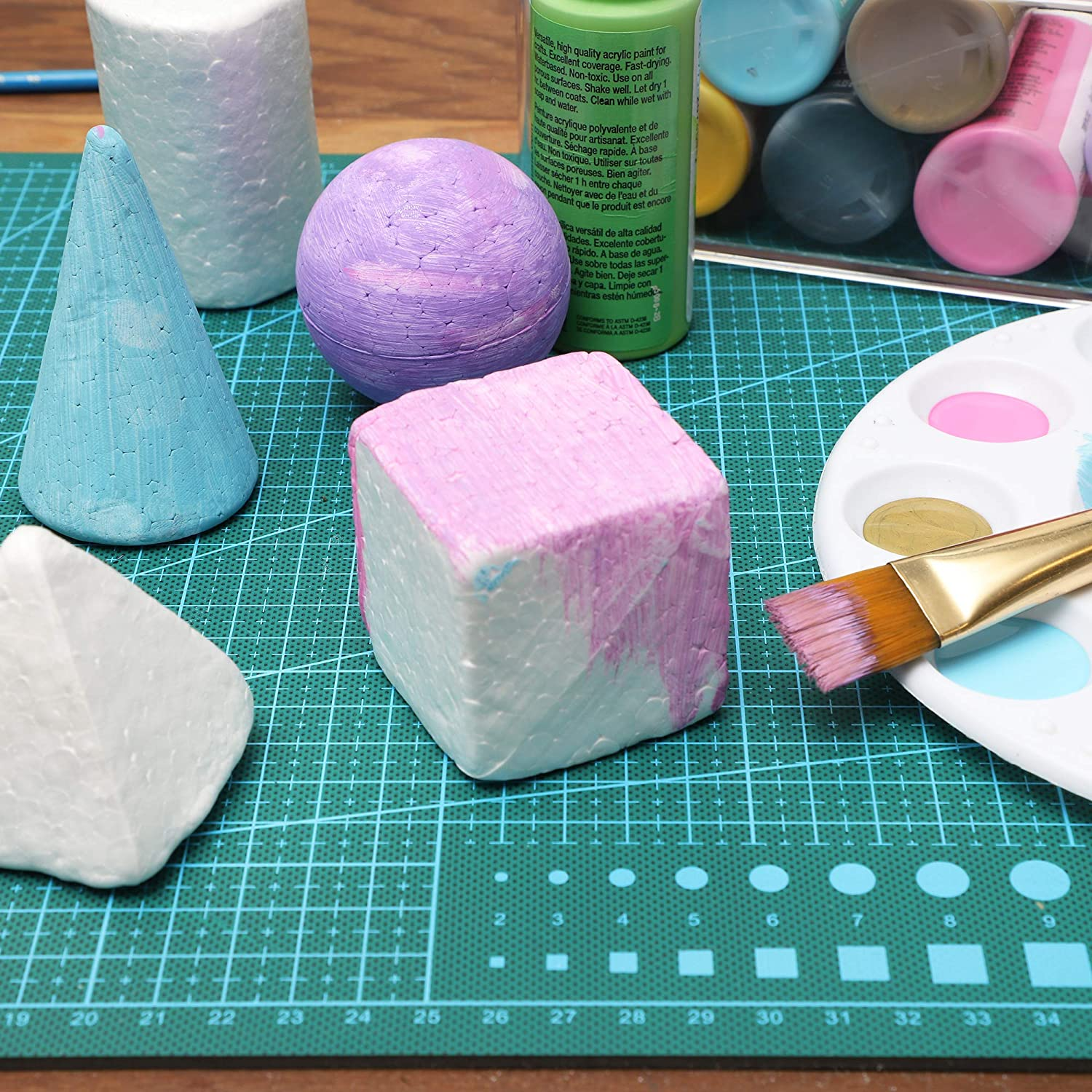 14 Count 7 Designs Bright Creations Mini Geometric Craft Foam Shapes