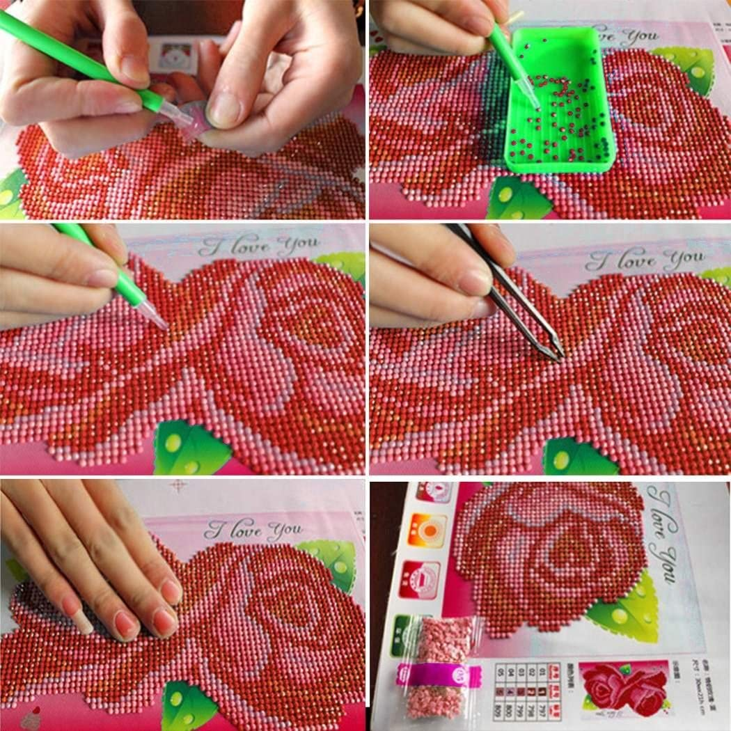 Piokikio 5D DIY Cross Stitch Colorful Flowers Artificial Diamond Painting Pictures Kits Cross-Stitch