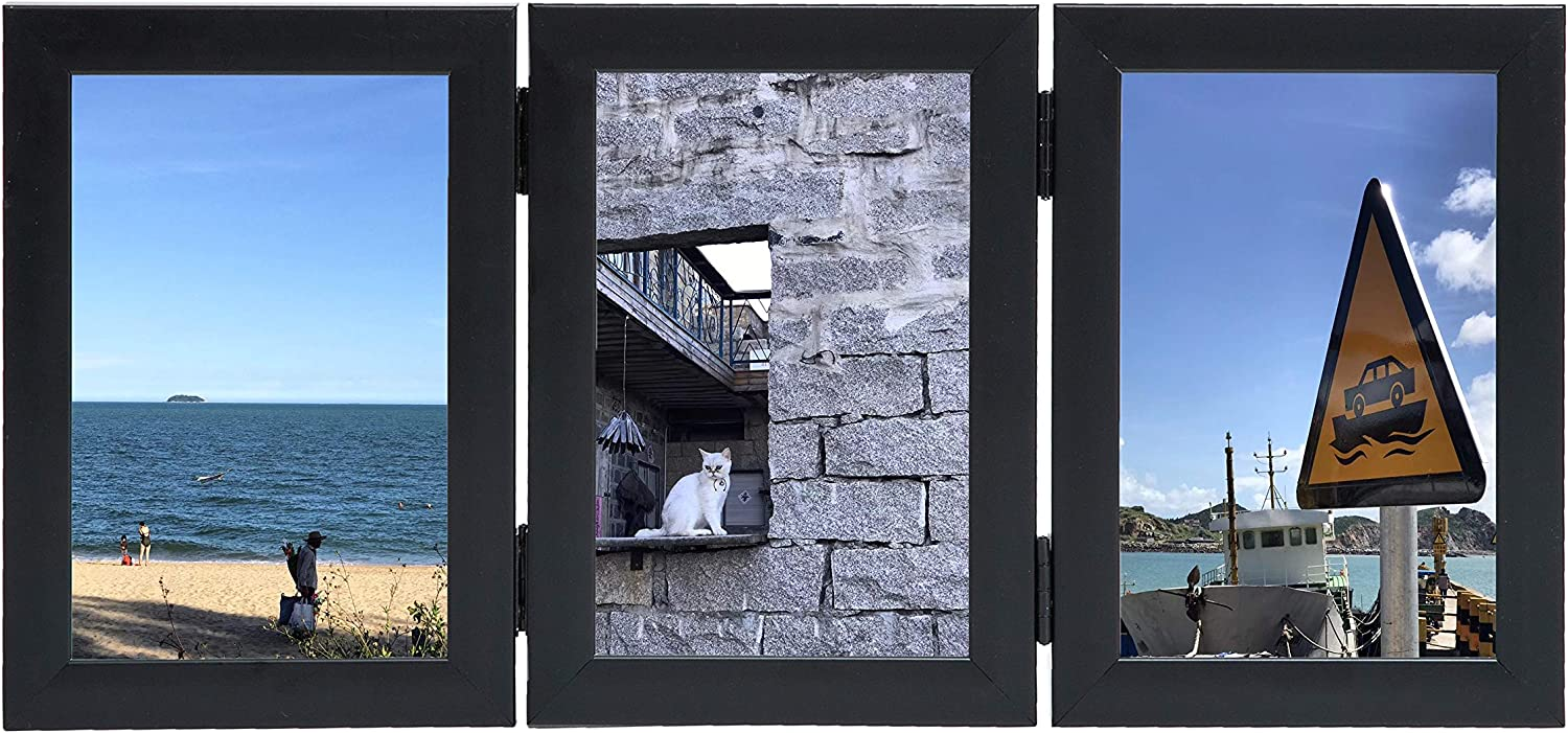 Ziihome Picture Frames for Display Three 4x6 Picture Frame Hinged Wood Photo Frame with Real Glass Vertically Stand on Tabletop or Desktop (Black)