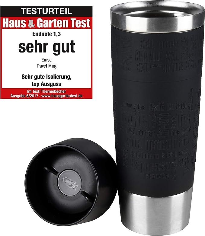 Amazon Com Emsa Germany Travel Mug Grande Premium High Performance German Engineered Thermos Vacuum Flask Tumbler 17oz Black Kitchen Dining
