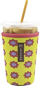 Java Sok Reusable Iced Coffee Cup Insulator Sleeve for Cold Beverages and Neoprene Holder for Starbucks Coffee, McDonalds, Dunkin Donuts, More (Smile, 22-28oz Medium)