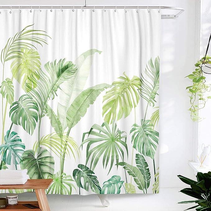 LB Cortina de Ducha de Hojas Tropicales con Ganchos,150W 180H CM Acuarela Hawaii Selva /Árbol Cortinas de ba/ño Blanco Palm Verde Tejido de poli/éster Anti-Moho Resistente al Agua