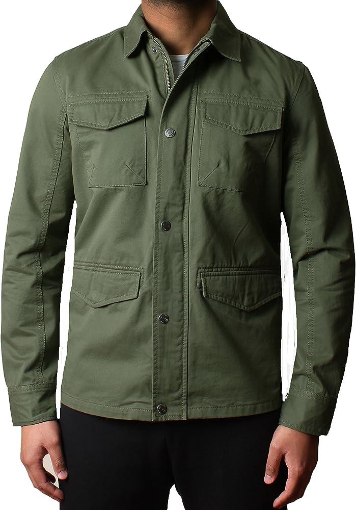 Threadbare Hombres diseñador Militar Tela asargada Encima de la Camisa Chaqueta Hartford Bang Plain DMW018, Caqui, XXL: Amazon.es: Ropa y accesorios