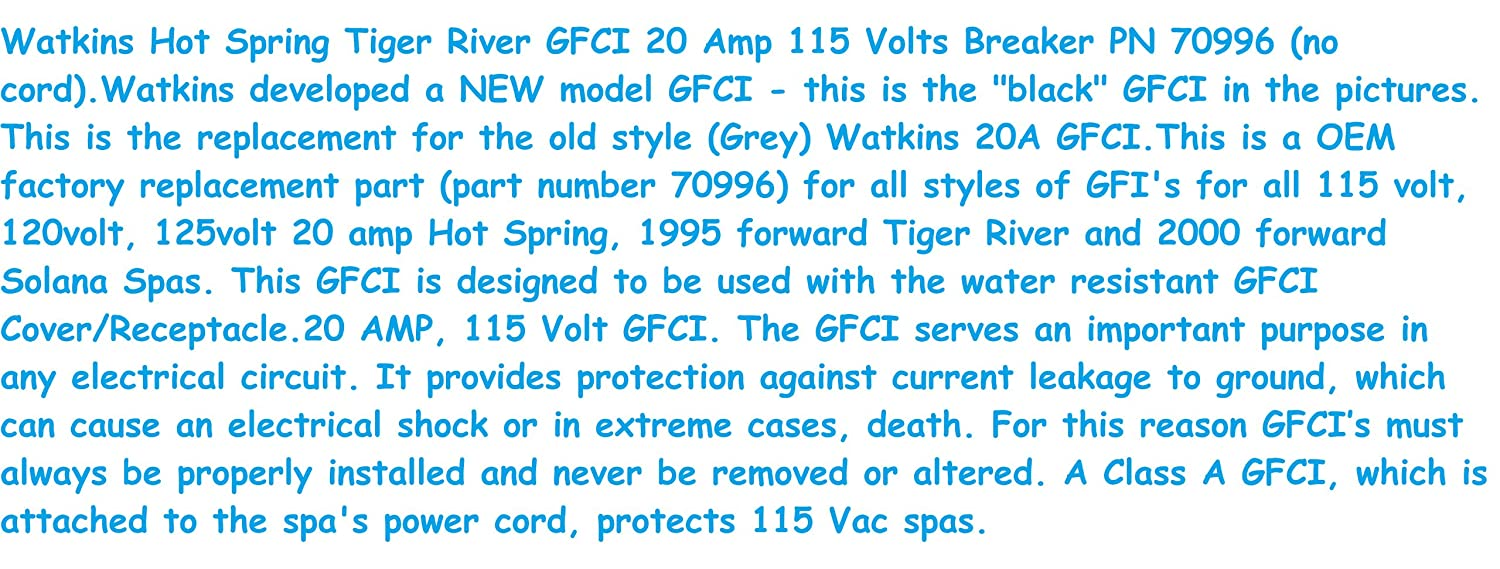 Watkins Hot Spring Tiger River Gfci 20 Amp 115 Volts Breaker Pn Pin Plug In Ground Fault Circuit Interrupter By Pondmaster On 70996 No Cordwatkins Developed A New Model This Is The Black