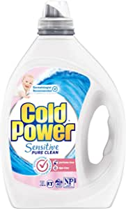 Cold Power Sensitive Pure Clean, Liquid Laundry Detergent, Fragrance Free and Dye Free, 2 Litres, 40 Washloads