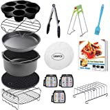 CAXXA 15 PCS 8 Inch XL Air Fryer Accessories, Deep Fryer Accessories with Recipe Cookbook Compatible with Growise Phillips Co