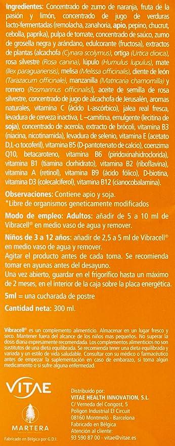 Vitae Vibracell Complemento Alimenticio, VIB300, Naranja, 300 Mililitros