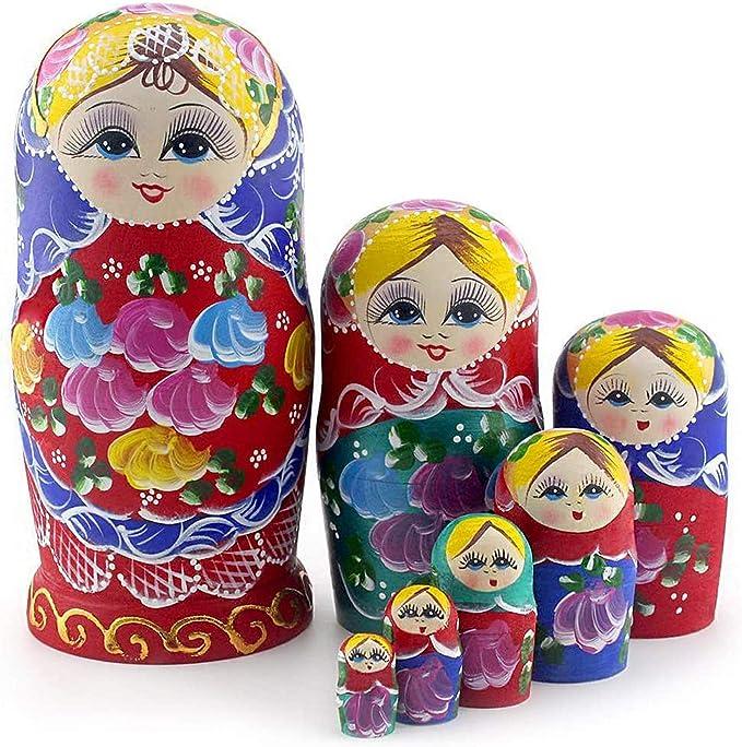 Heaven2017 6 Pcs Creative Santa Claus Nesting Dolls,Handmade Russian Matryoshka Wooden Stacking Toys for Girls Boys Kids Set Home Decoration-1#