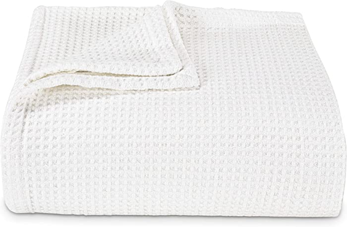 Vera Wang | Waffle Weave Collection | 100% Cotton Soft and Cozy Textured Plush Blanket for Sofa Couch or Bedroom, Modern Stylish Home Décor, Full/Queen, White