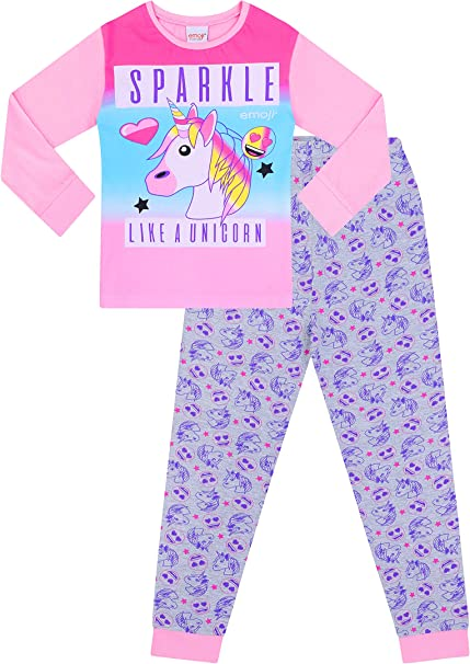 Filles Rose Emoji Licorne Pyjamas À Manches Longues /& jambes Tailles 4-5 ans