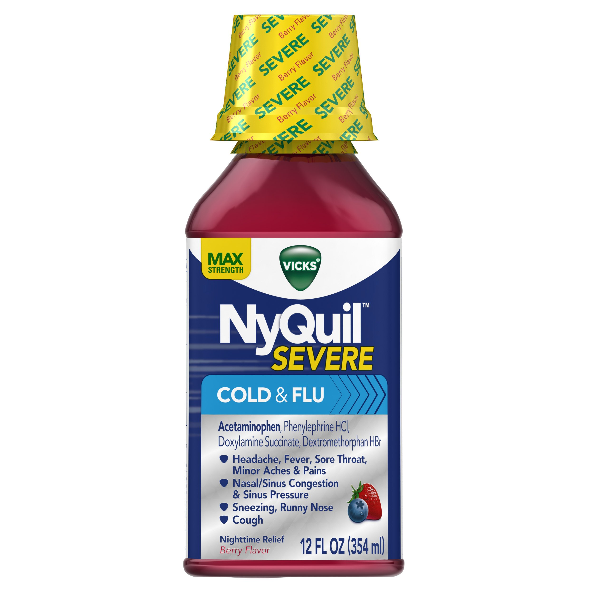 Vicks Nyquil SEVERE Cold and Flu Nighttime Relief Liquid, Berry Liquid, 12 Fl Oz (Pack of 12) by Vicks