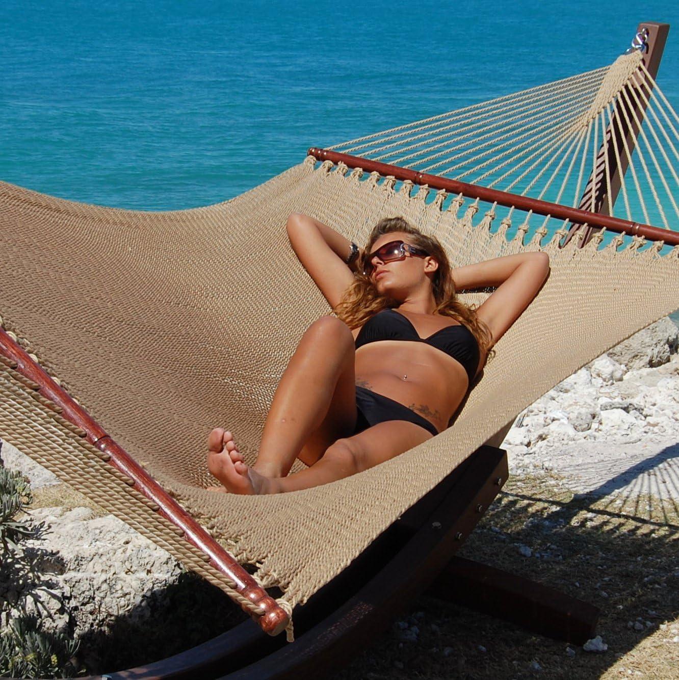 """Caribbean Hammocks 55"""" Wide Jumbo Caribbean Hammock - Tan - 600 lb Weight Capacity"""