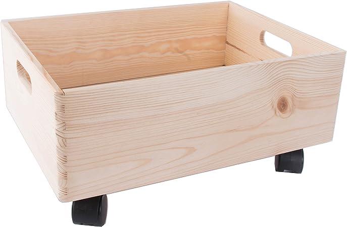 Tamaño mediano de madera apilables caja de almacenamiento con asas y ruedas/organización/caja de almacenaje: Amazon.es: Hogar