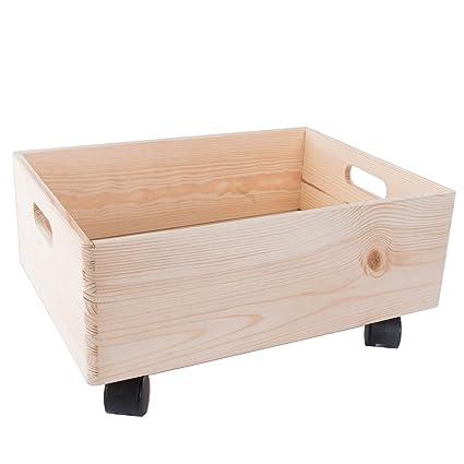 Tamaño mediano de madera apilables caja de almacenamiento con asas y ruedas /organización/caja