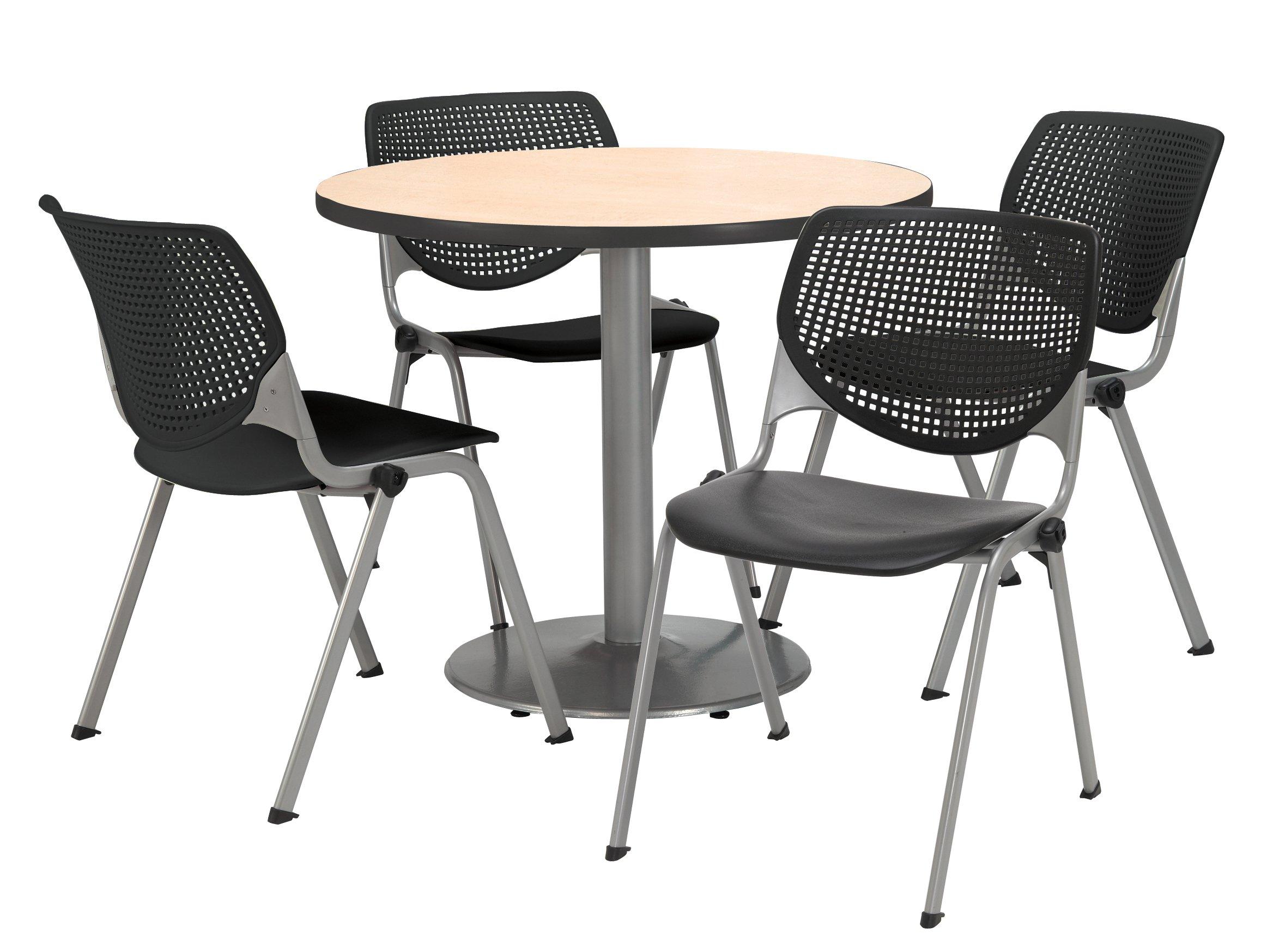 KFI Seating Round Laminate Top Pedestal Table with 4 Black Kool Series Stack Chairs, 42'' Diameter, Natural by KFI Seating