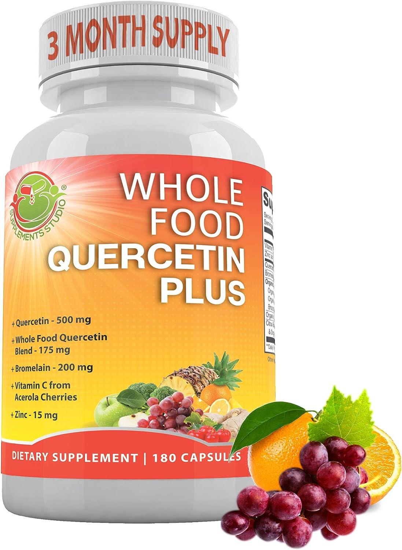 Organic Whole Foods, Quercetin with Bromelain-Zinc-Vitamin C-Ginger-Bioflavonoids, Immune, Cardiovascular & Respiratory System Support, Natural Antioxidant,180 Capsules-3 Month Supply, No-GMO,Vegan