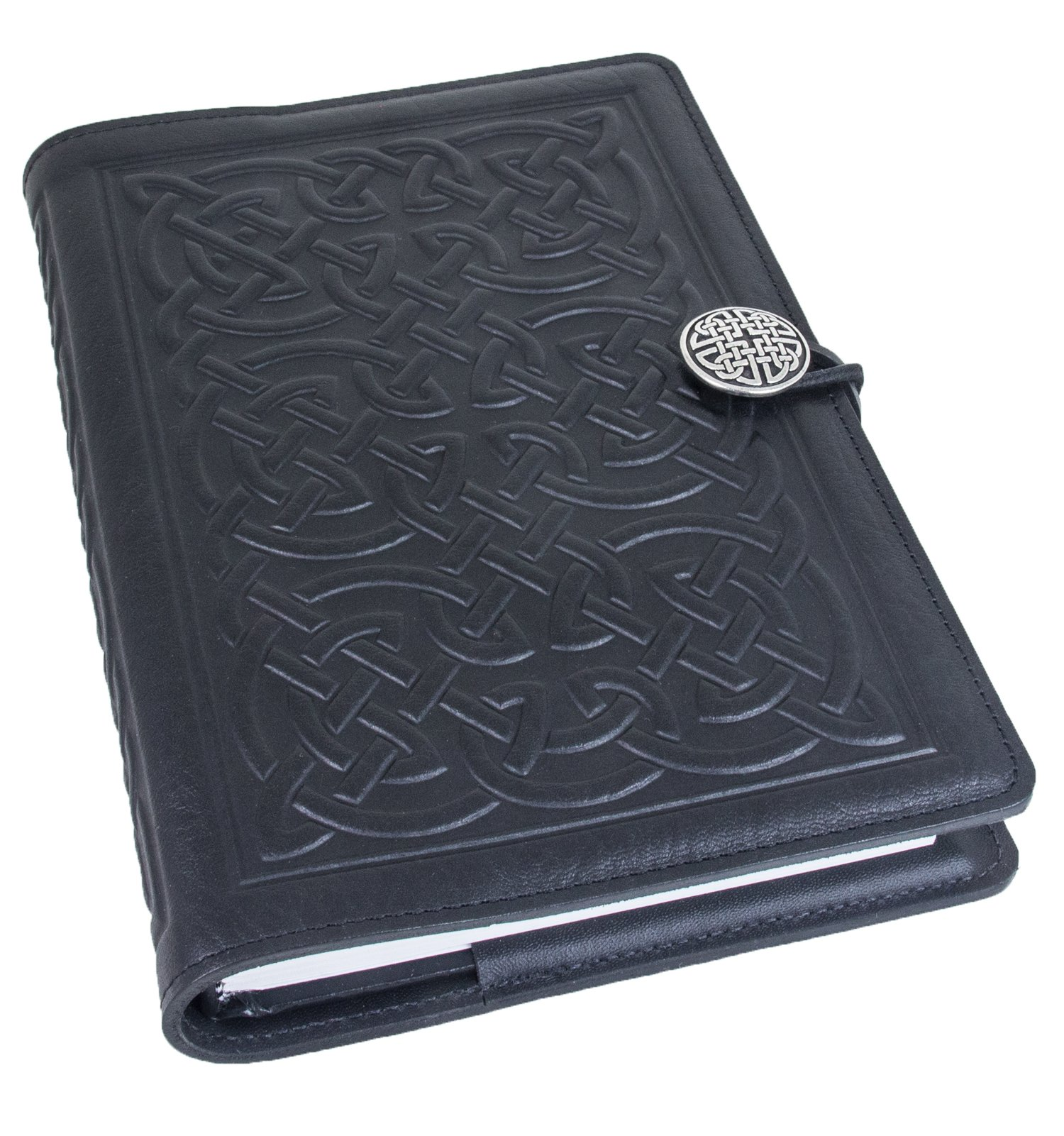 Genuine Leather Refillable Journal Cover with a Hardbound Blank Insert, 6x9 Inches, Bold Celtic, Black with a Pewter Button, Made in The USA by Oberon Design by Oberon Design