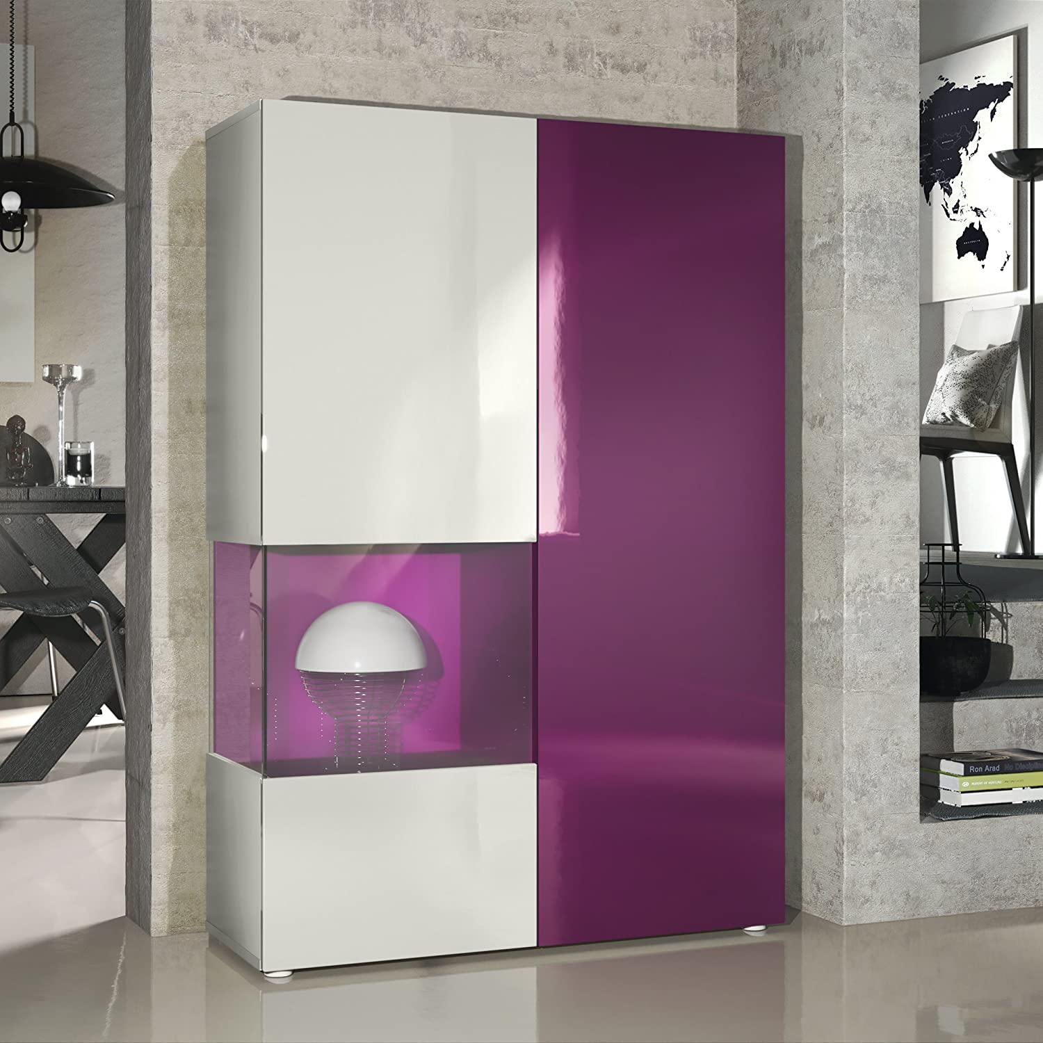 Vladon Tall Display Cabinet Cupboard Morena Carcass in White matt//Right door and Insert in Oak Nordic with LED lighting