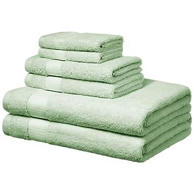AmazonBasics Everyday Bath Towels, 6 Piece Set, Seaglass Green