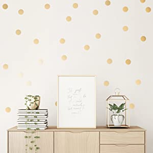 Easy Peel + Stick Gold Wall Decal Dots - 2 Inch (100 Decals) - Safe on Walls & Paint - Metallic Vinyl Polka Dot Decor - Round Circle Art Glitter Stickers - Large Paper Sheet Baby Nursery Room Set