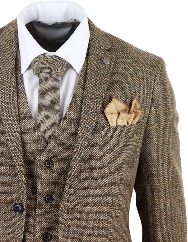 Mens 3 Piece Suit Tweed Check Vintage Retro Peaky Blinders Tailored Fit 1920s