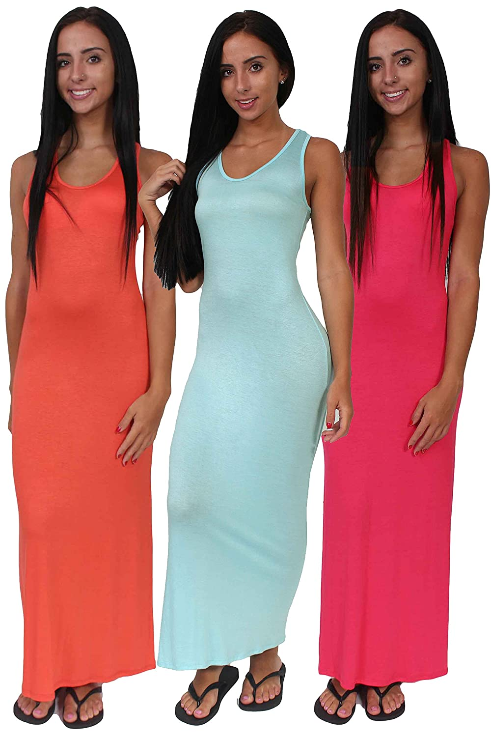 Sharon\'s Outlet Women\'s Casual Tank Maxi Dress 6 Pack Made In USA at ...