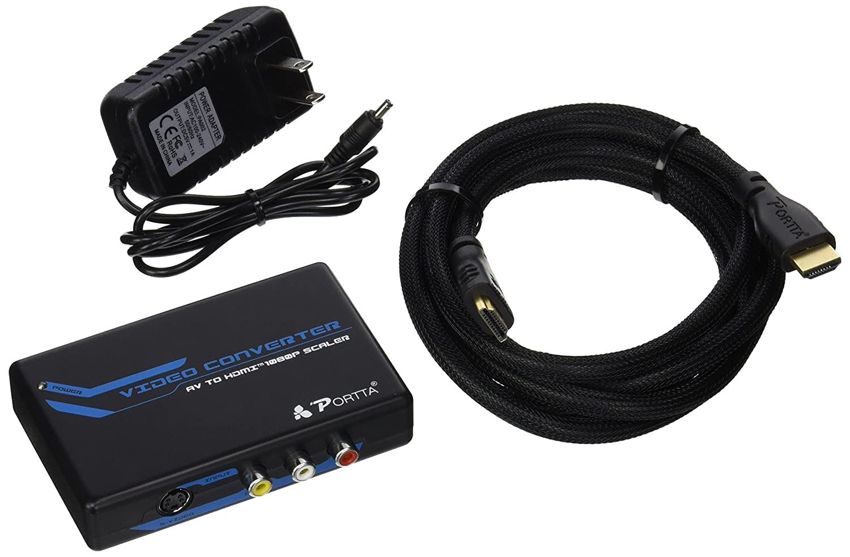 Portta AV/CVBS Composite RCA + S-Video to HDMI Converter v1.3 up Scaler support 720p 1080p N3CCSHP
