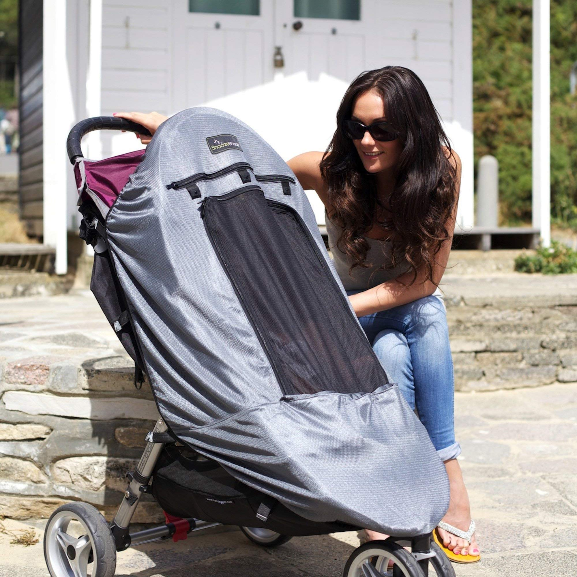 SnoozeShade Plus Deluxe | Universal fit sun shade for strollers | 360-degree sun and UV protection | Sleep shade and mosquito net | Recommended for 6m+ by SnoozeShade (Image #9)