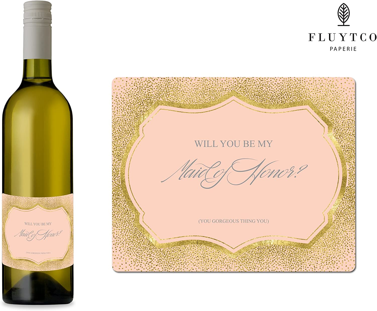 Engagement Party Bridesmaid /& Maid of Honor Proposal Gift Will You Be My? Bridal Shower Set of 8 Gold Pink Wedding Labels for Wine Bottle /& Gift Box