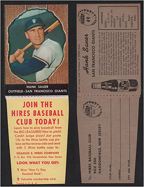 1958 Hires Root Beer With Tabs Baseball Card 49 Hank