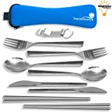 TravelSource - 2-person Stainless-Steel Camping Eating Utensils Kit + Case With Backpack Hanging Strap, Chopsticks & Bottle Opener
