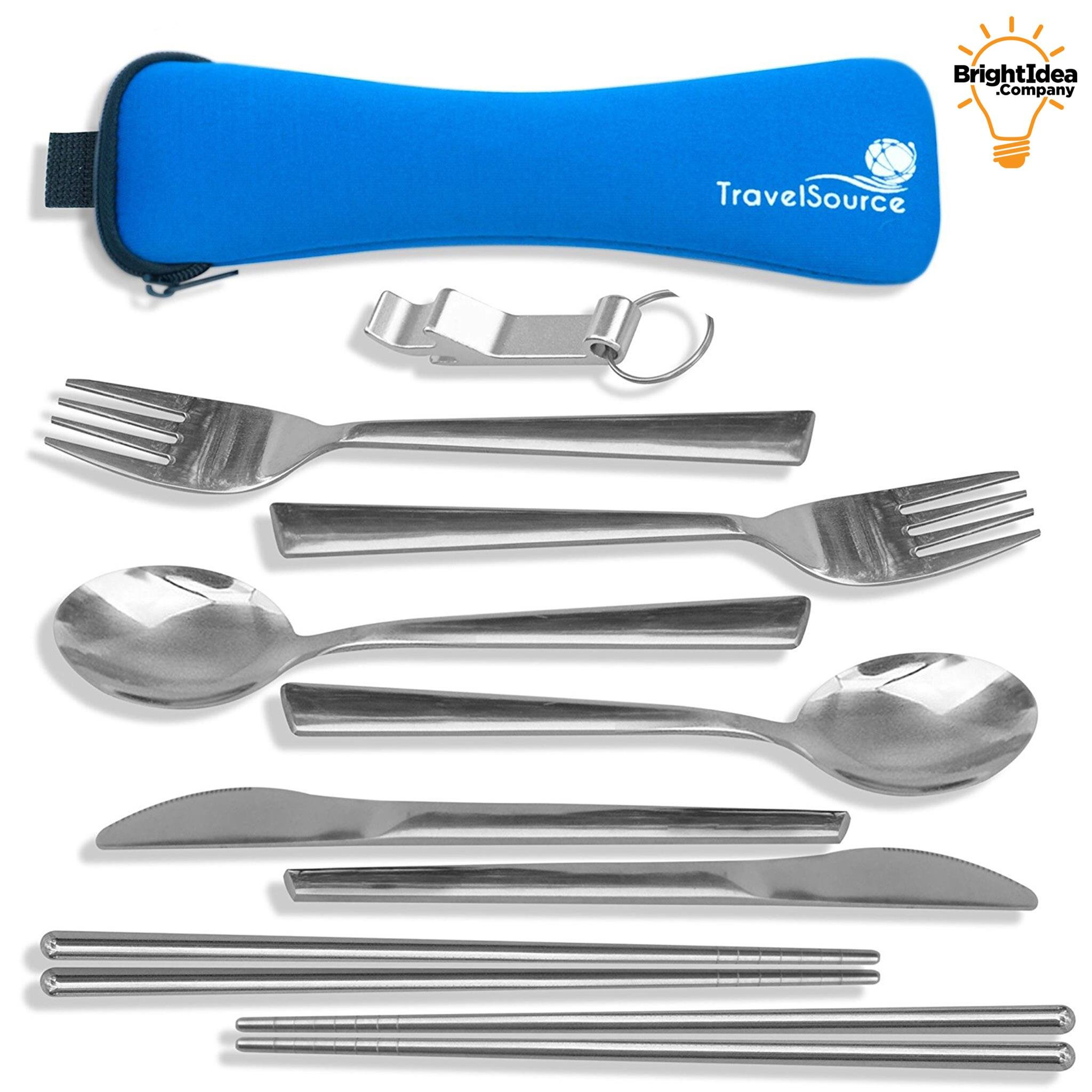 TravelSource - 2-Person Stainless-Steel Camping Eating Utensils Set - Portable Mess Kit + Case with Backpack Hanging Strap, Chopsticks & Bottle Opener