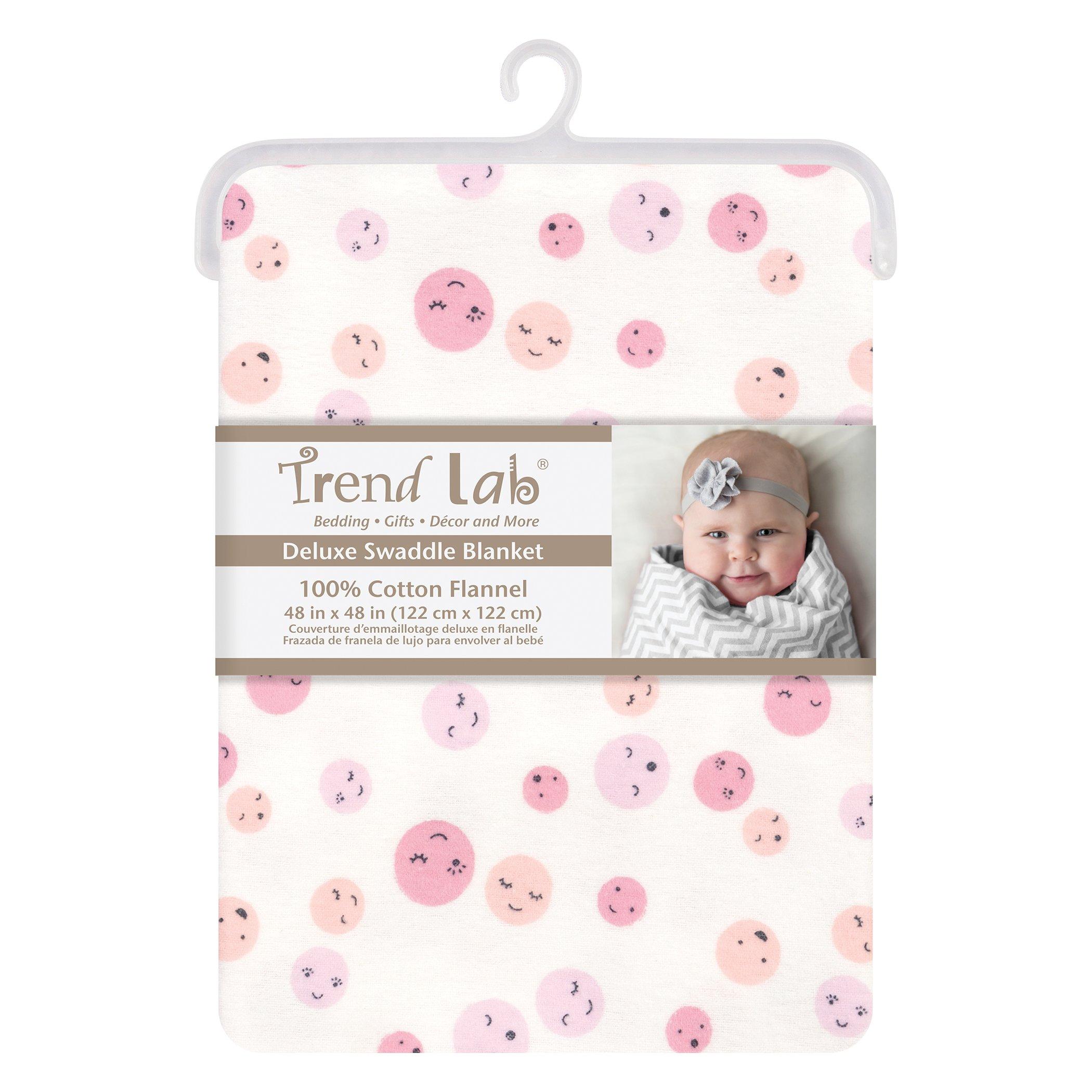 Trend Lab Be Happy Jumbo Deluxe Flannel Swaddle Blanket