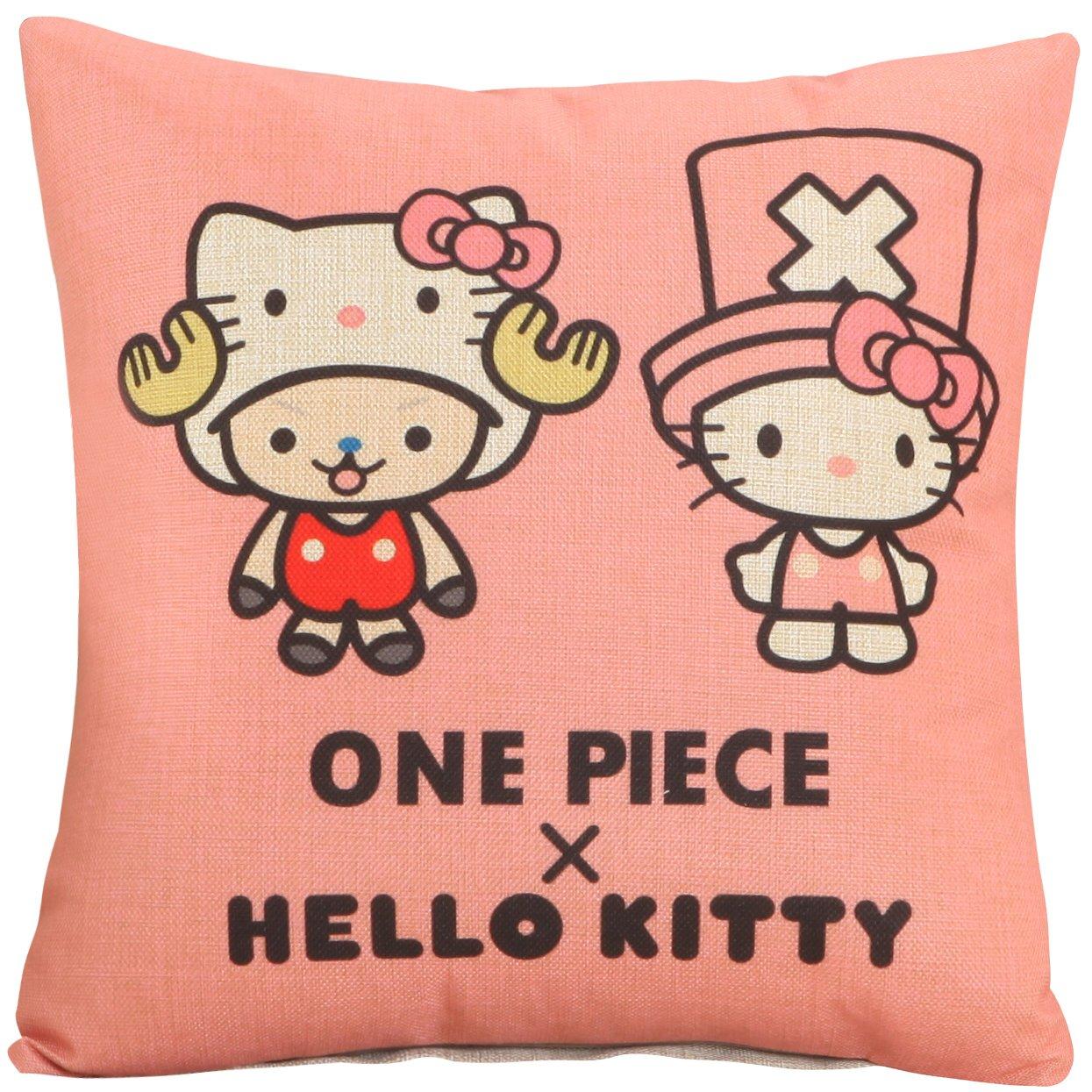 Yoyokmc Hello Kitty - Funda de cojín cuadrada de lino y ...