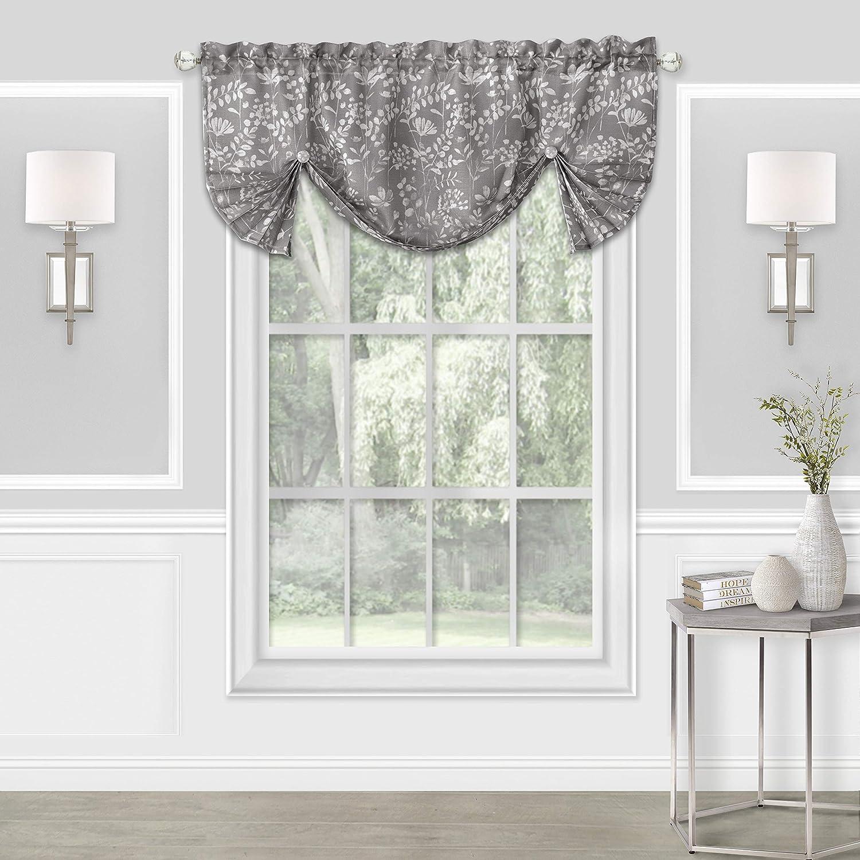 "Achim Home Furnishings, Grey Charlotte Window Curtain Roman Pleated Valance, 52""x17"""