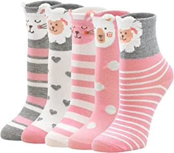 PUTUO Calcetines Divertidos Niña Calcetines de Animales, Calcetines Niñas Invierno Calcetines Térmicos Niña Calcetines de Algodón, 2-11 años, 5 pares