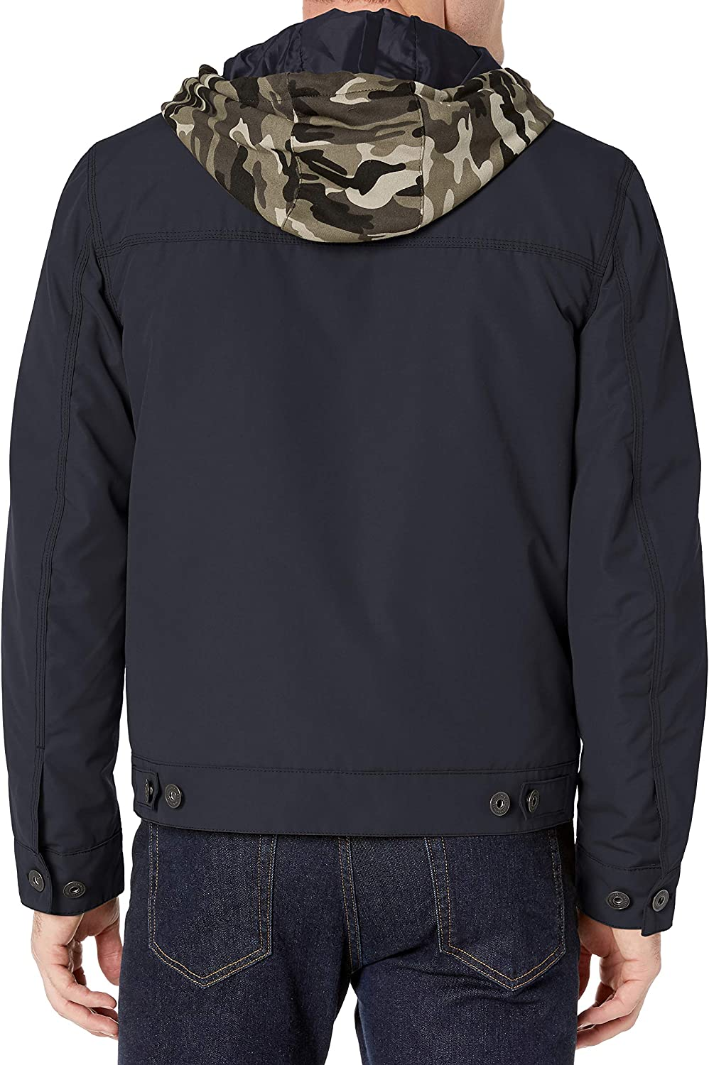 Lucky Brand Mens Stark Button Front Jacket with Exposed Fleece Hood