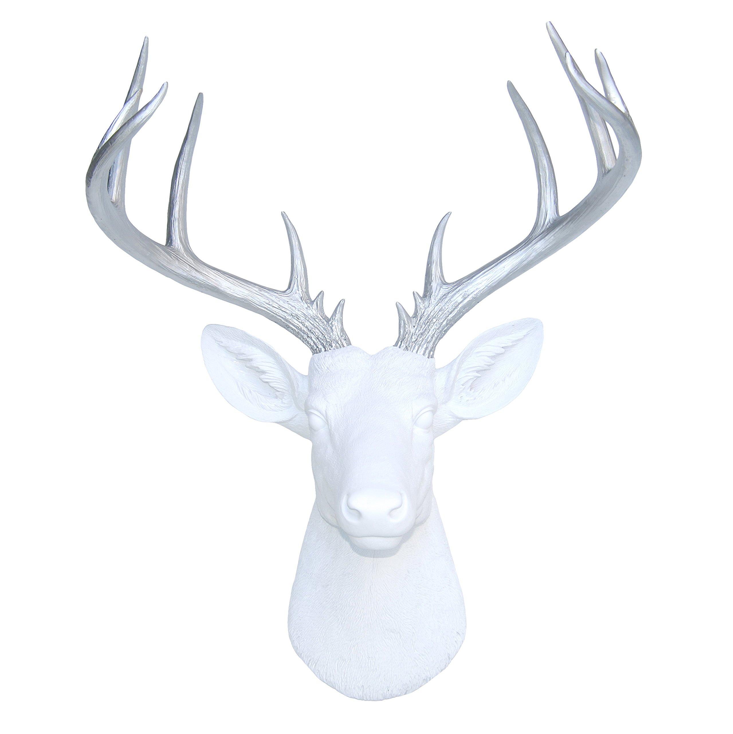 Near and Deer ND0110 Faux Taxidermy 14 Point Deer Head Wall Mount, White/Silver by Near and Deer