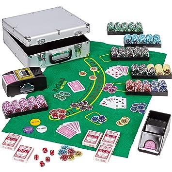 Maxstore Ultimate Poker Set ALU Poker Case Deluxe - 600 Chips láser 12 g con Inserto de Metal Que Incluye Mezclador de Tarjetas Poker Deck Dealer Dice ...