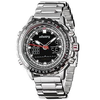 Infantería ® Mens analógico – digital muñeca reloj cronógrafo FECHA alarma pulsera de acero inoxidable