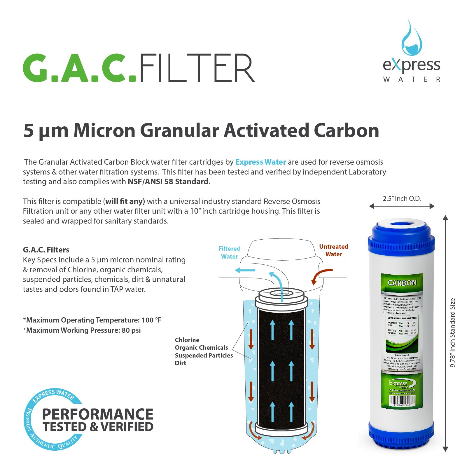 Express Water – Reverse Osmosis and Under Sink System Replacement Filter Set – 21 Filters with Carbon (GAC, ACB, PAC) Filters, Sediment (SED) Filters – 10 inch Standard Size Water Filters by Express Water (Image #4)