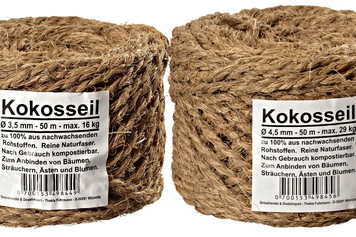 2-SET Ø 3.5 mm & Ø 4.5 mm Coir Rope, Coir Yarn, Tree Binder, Garden String, Garden Rope, made from Coconut Fibre, 100% Natural Fibre, 2-SET = 1 roll of each type (2 x 50 m)