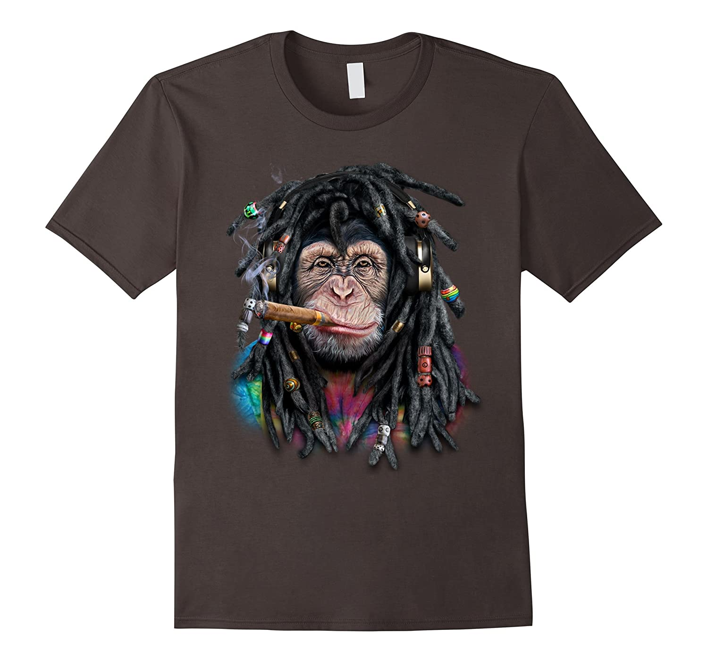 Chimpanzee Monkey as Dreadlocks Hippie Reggae Dreads T-Shirt-ANZ