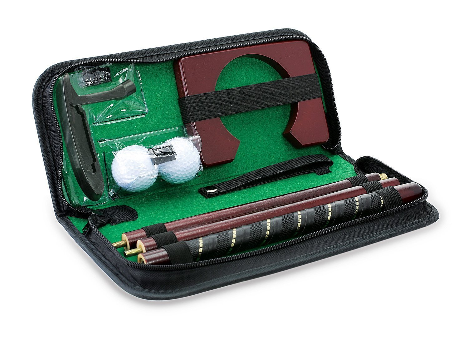 POSMA PG020AD Golf Putter kit set with auto reverse electric putting hole in a golfers carry bag, putter club, 2pcs golf balls - perfect for Indoor outdoor golf putting training practice aid by POSMA (Image #2)
