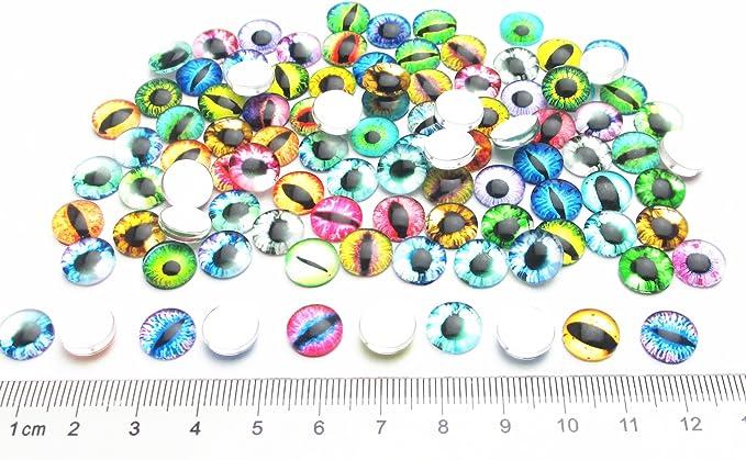 8mm//0.3 Dandan DIY 40pcs 8mm//0.3 Mini Assorted Cool Eye Glass Resin Flatback Flat Backs Half Round Glass Dragon Cat Eyes Phonecover Scrapbooking Diy Handmaking Craft Supply