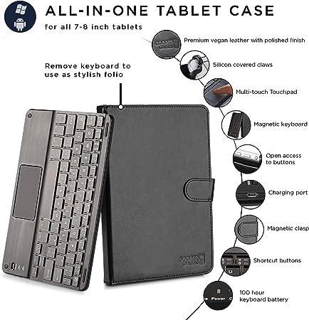 Tablet Bluetooth Tastiera Custodia Samsung Galaxy Tab 4 7.0 t230n NERO 7 pollici