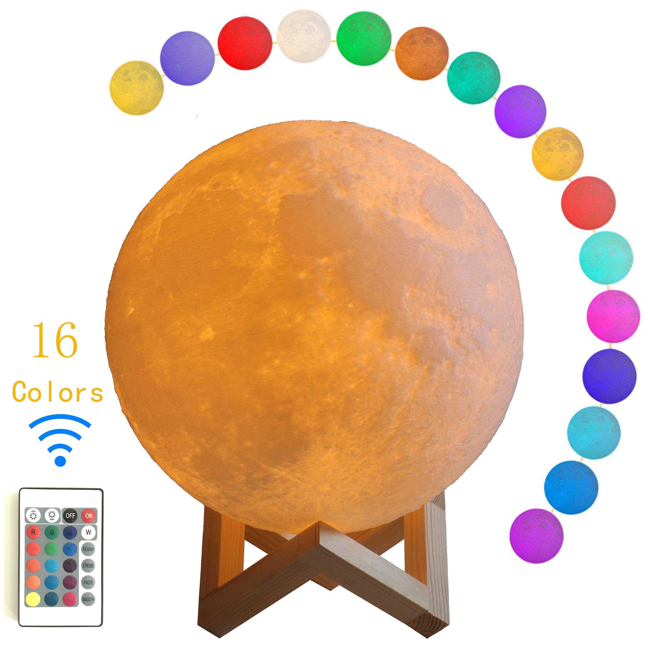 Eleven Direction Moon Lamp,3D Printing Lamp 7.9 Inch Glowing Ball Sleeping lamp Remote Brightness USB Rechargeable Change 16 Colors Moon Light for Kids Room, Birthday, Bedside Decorative Lights