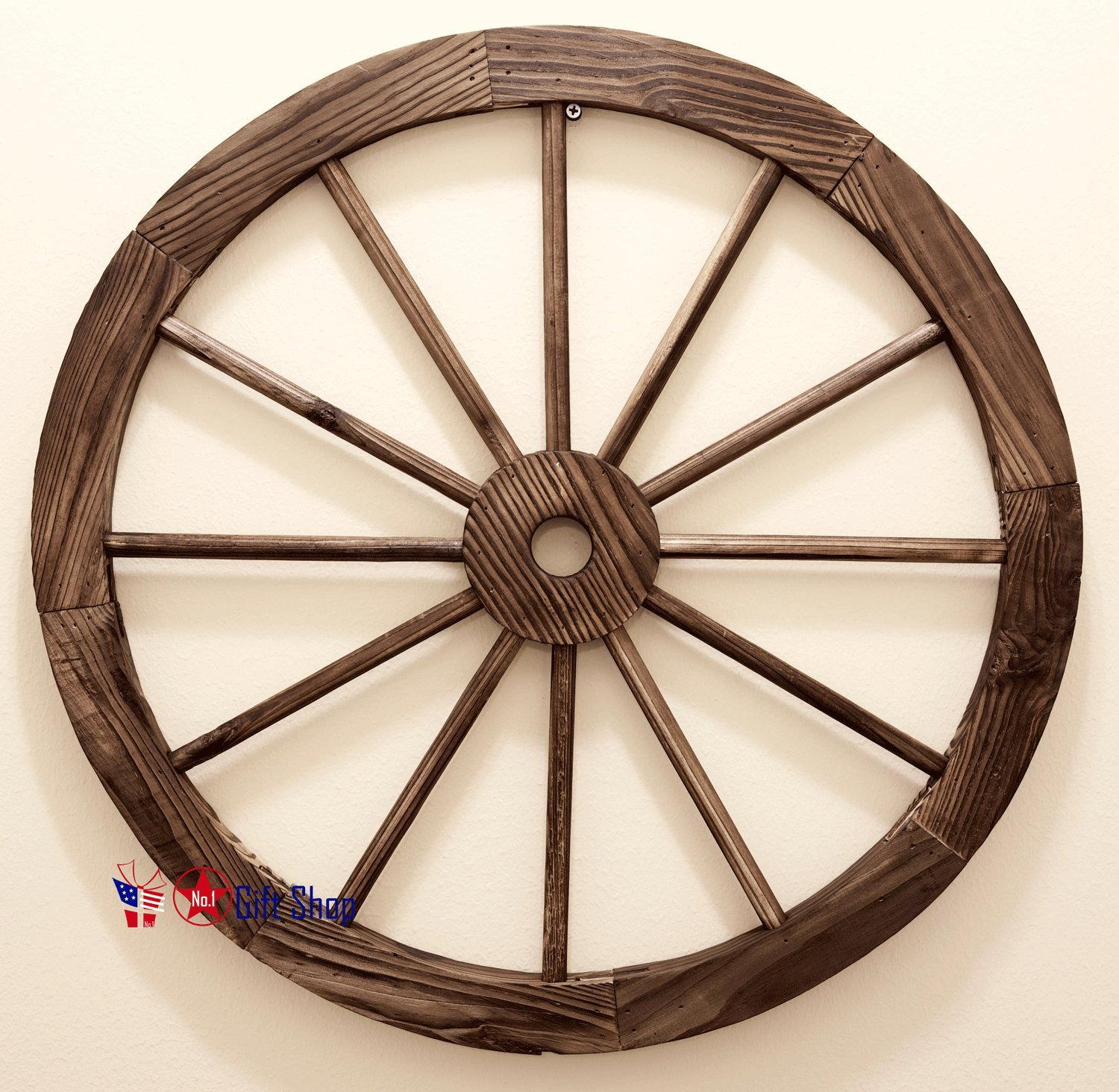 BestGiftEver WOOD WAGON WHEEL 24'' Home Décor