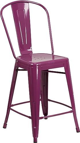 Flash Furniture Commercial Grade 24″ High Purple Metal Indoor-Outdoor Counter Height Stool