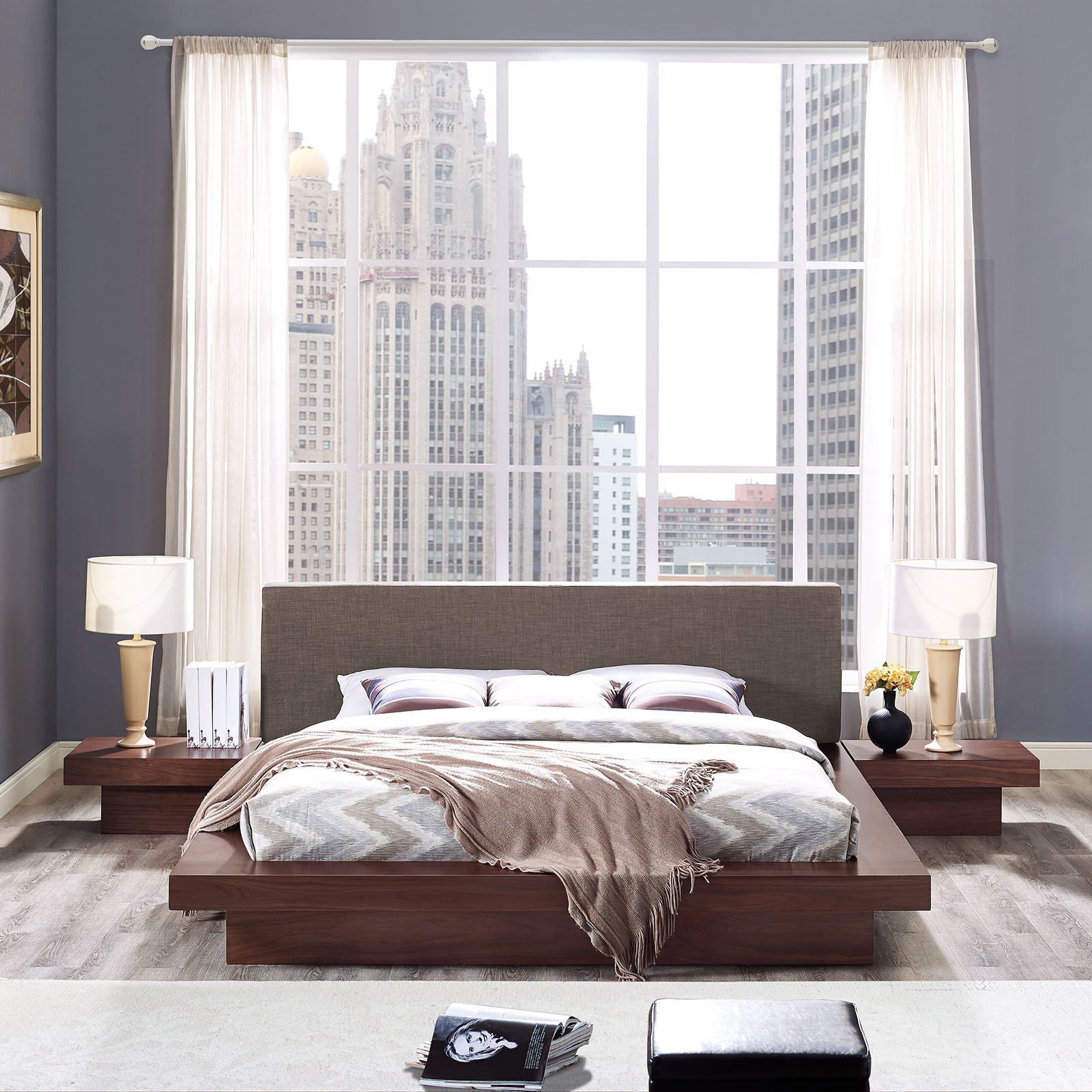 Modway Freja Upholstered Walnut Brown Modern Platform Bed with Wood Slat Support and Two Nightstands in Queen by Modway